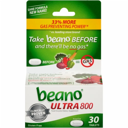 Beano Ultra 800 Food Enzyme Dietary Supplement Tablets Perspective: front