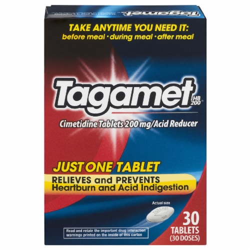 Tagamet Cimetidine Acid Reducer Tablets 200mg 30 Count Perspective: front