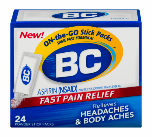 BC Aspirin Headache Fast Pain Relief Powders 24 Count Perspective: front