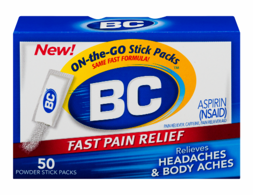 BC Fast Pain Relief Aspirin Powders Perspective: front