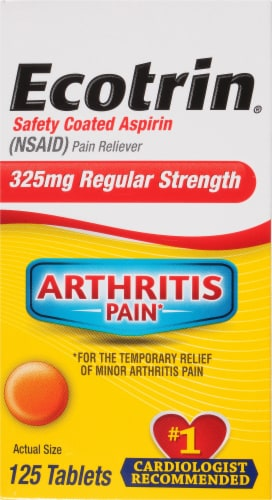 Ecotrin Pain Releiving Tablets 325mg 125 Count Perspective: front