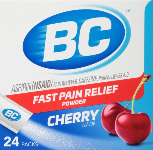 BC Aspirin (NSAID) Caffiene Pain Reliever Aid Cherry Powder Perspective: front