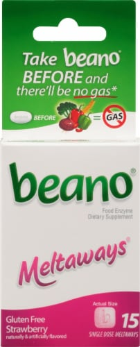 Beano Meltaways Strawberry Dietary Supplement Perspective: front