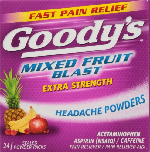 Goody's Mixed Fruit Blast Extra Strength Headache Powder Packs 24 Count Perspective: front