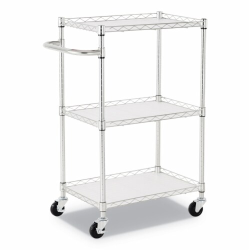 Alera SW322416SR 16 x 25 x 39 in. 3 Shelf Wire Cart with Liners, Silver Perspective: front