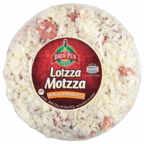 Brew Pub Pizza Lotzza Motzza Sausage & Pepperoni Frozen Pizza Perspective: front