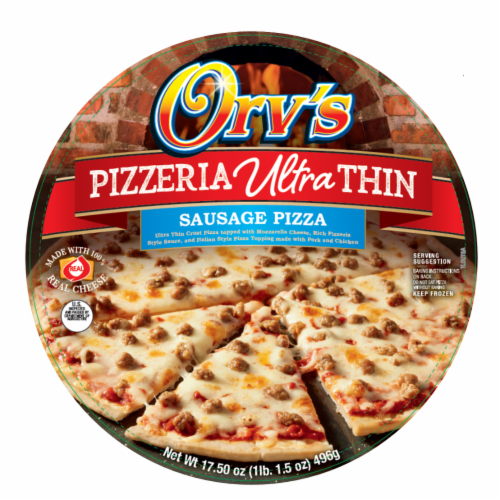 Orv's Pizzeria Ultra-Thin Sausage Frozen Pizza Perspective: front