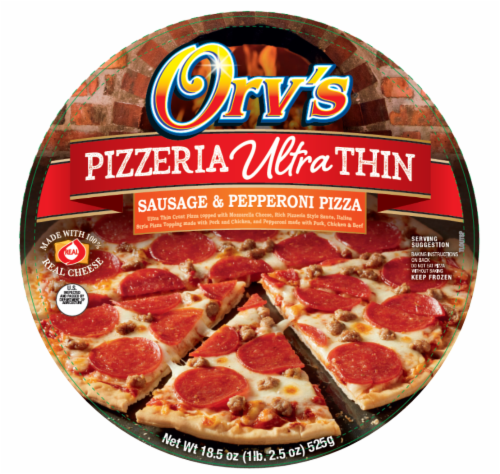 Orv's Pizzeria Ultra-Thin Sausage & Pepperoni Frozen Pizza Perspective: front