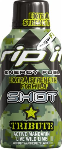 Rip It Energy Tribute Mandarin Lime Extra Strength Energy Drink Shot Perspective: front