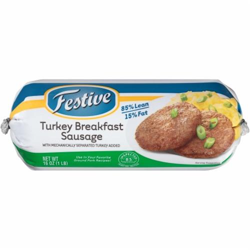 Festive 85% Lean Turkey Breakfast Sausage Perspective: front