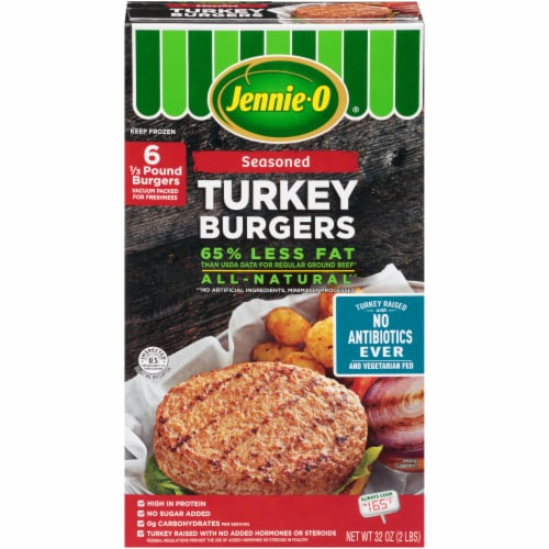 Jennie-O Seasoned Turkey Burgers 6 Count Perspective: front
