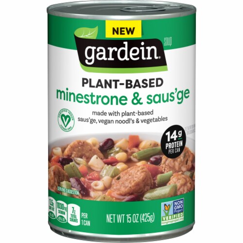 Gardein Vegan Plant-Based Saus'ge & Minestrone Soup Perspective: front