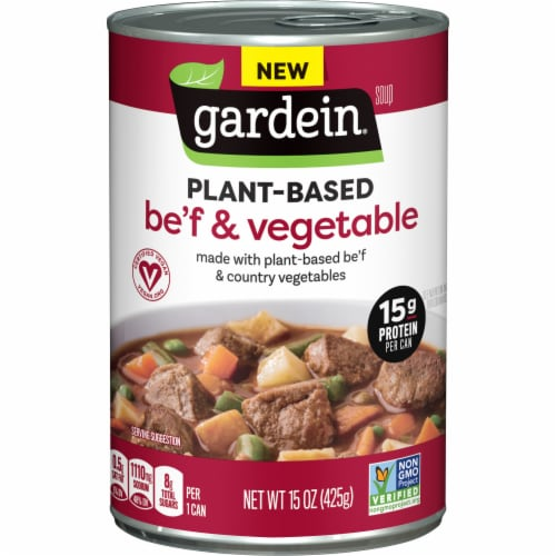 Gardein Plant-Based Be'f and Country Vegetable Soup Perspective: front