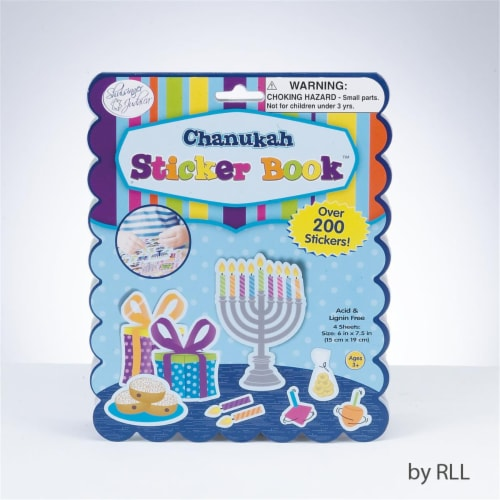 Rite Lite TY-14344 Chanukah Sticker Book, 200 Stickers, 4 Pages Perspective: front