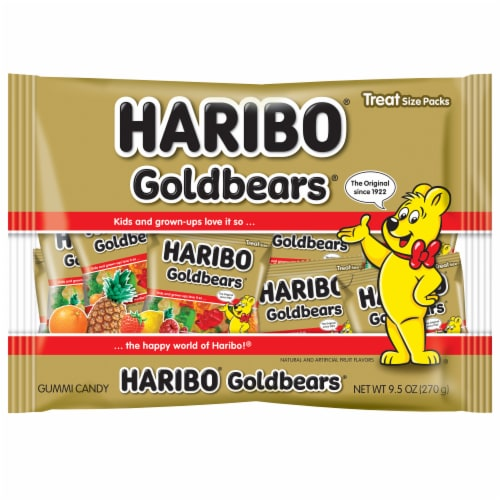 Haribo Goldbears Gummi Candy Treat Size Packs Perspective: front