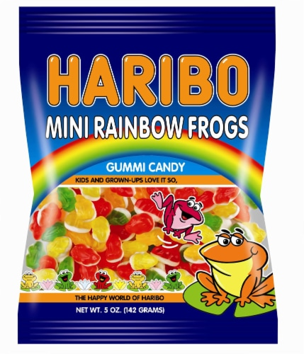 Haribo Gummi Candy, Mini Rainbow Frogs, 5 oz. Bags (12 count) Perspective: front