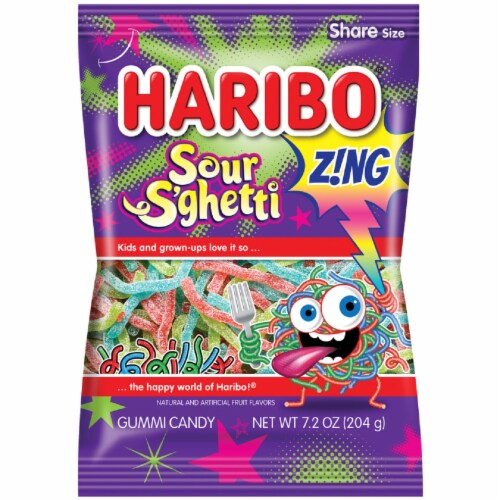 Haribo Zing Sour S'ghetti Gummi Candy Share Size Perspective: front