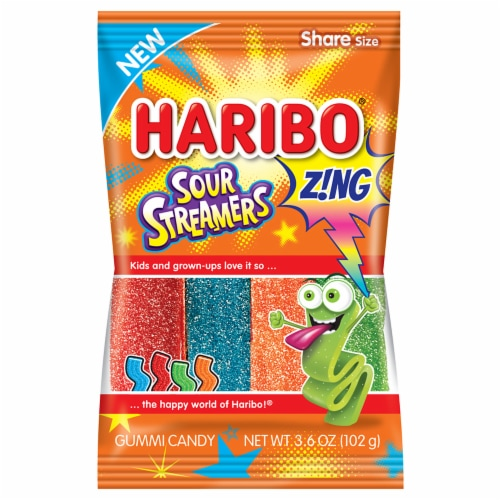 Haribo Zing Sour Streamers Gummi Candy Perspective: front