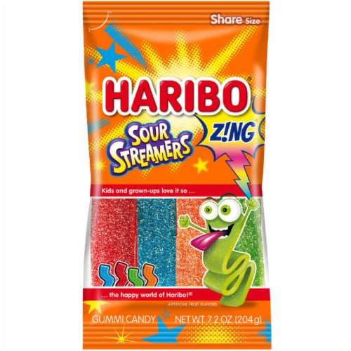 Haribo Sour Streamers Gummi Candy Perspective: front