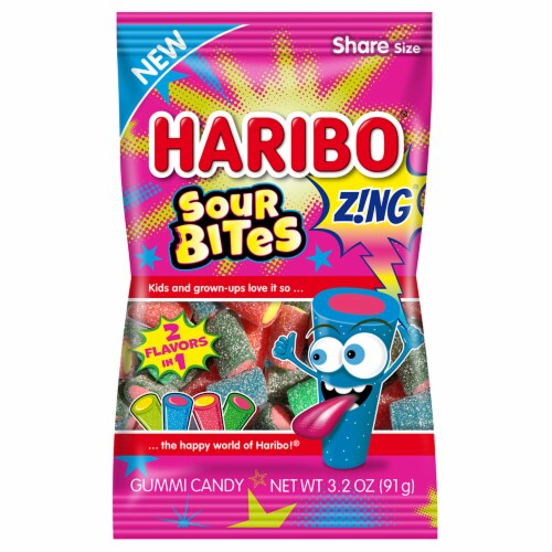 Haribo Zing Sour Bites Gummi Candy Perspective: front