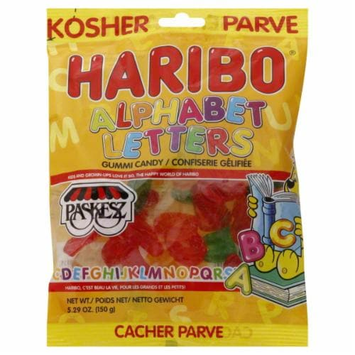 Haribo Kosher Alphabet Letters Gummi Candy Perspective: front