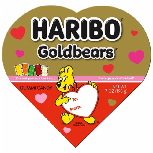 Haribo Gold Bears Gummi Candy Valentines Heart Box Perspective: front