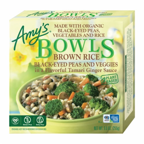 Amy's Brown Rice Black-Eyed Peas and Veggies Bowl Frozen Meal Perspective: front