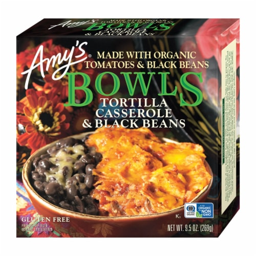 Amy's Tortilla Casserole & Black Beans Bowl Frozen Meal Perspective: front