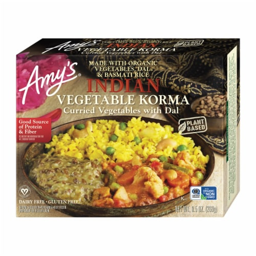Amy's Indian Vegetable Korma Frozen Meal Perspective: front