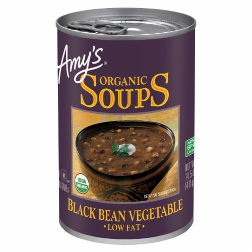 Amy's Organic Black Bean Vegetable Soup Perspective: front