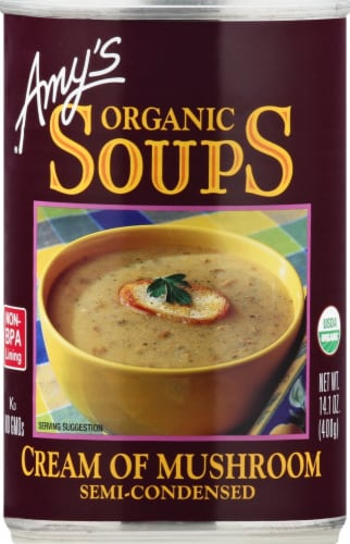 Amy's Organic Cream of Mushroom Soup Perspective: front