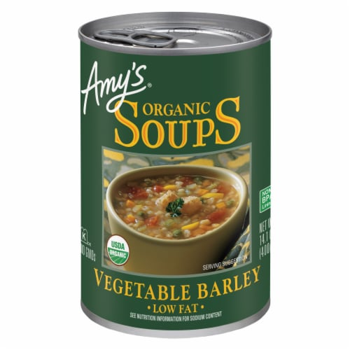 Amy's Organic Vegetable Barley Soup Perspective: front