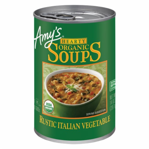 Amy's Organic Hearty Rustic Italian Vegetable Soup Perspective: front