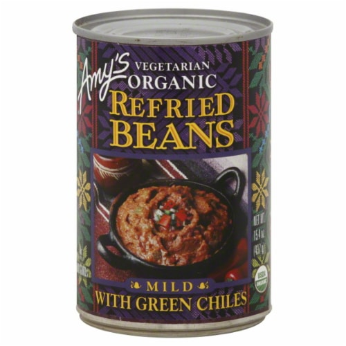 Amy's Organic Refried Beans with Mild Green Chiles Perspective: front