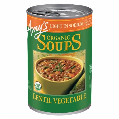 Amy's Organic Light in Sodium Lentil Vegetable Soup Perspective: front