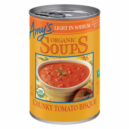 Amy's Organic Low Sodium Chunky Tomato Bisque Soup Perspective: front