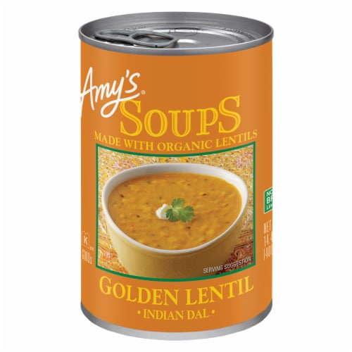 Amy's Indian Dal Golden Lentil Soup Perspective: front