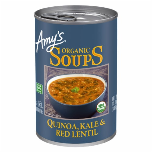 Amy's Organic Soups Quinoa Kale and Red Lentil Soup Perspective: front