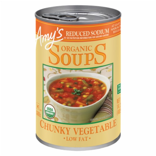 Amy's Organic Reduced Sodium Low Fat Chunky Vegetable Soup Perspective: front