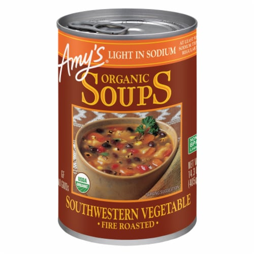 Amy's Light in Sodium Fire Roasted Southwestern Vegetable Organic Soup Perspective: front