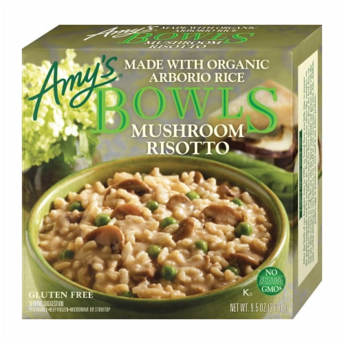 Amy's Mushroom Risotto Bowl Frozen Meal Perspective: front
