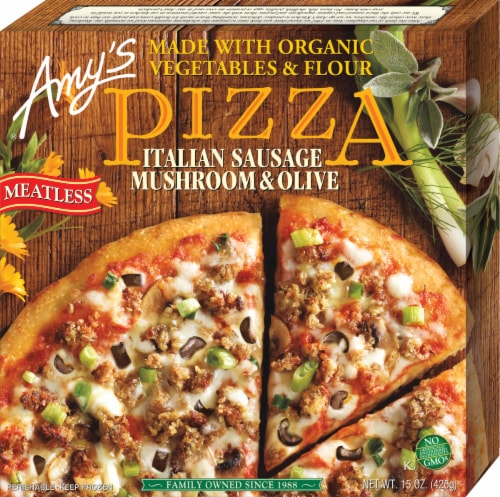Amy's Meatless Italian Sausage & Mushroom Pizza Perspective: front