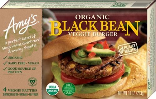 Amy's Organic Black Bean Veggie Burger Perspective: front