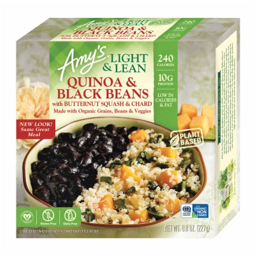 Amy's Light & Lean Quinoa & Black Beans with Butternut Squash & Chard Bowl Perspective: front