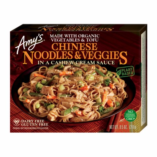 Amy's Chinese Noodles & Veggies Frozen Meal Perspective: front