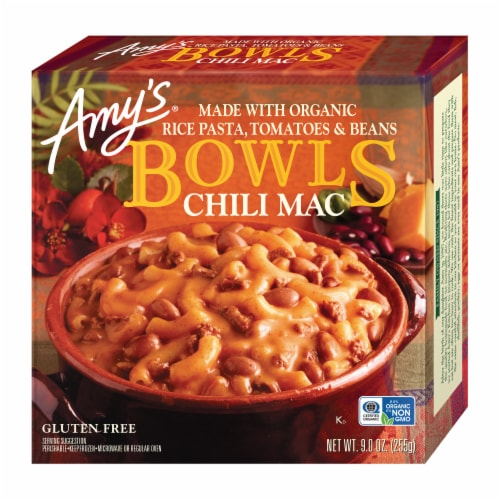 Amys Chili Mac Bowl Frozen Meal Perspective: front