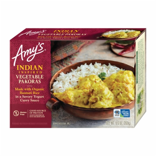 Amy's Indian Vegetable Pakoras Frozen Meal Perspective: front