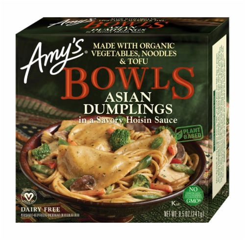 Amy's Vegan Asian Dumplings in a Savory Hoisin Sauce Frozen Bowl Perspective: front