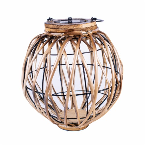 Echo Valley Burnished Wicker Solar Lantern Perspective: front