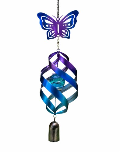 Echo Valley Butterfly Windweaver Solar Spinner - Purple/Blue Perspective: front